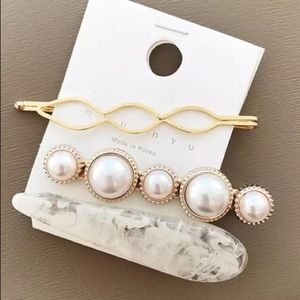 Pearl Ivory Marble Gold 3 Piece Hair Pin Barrettes